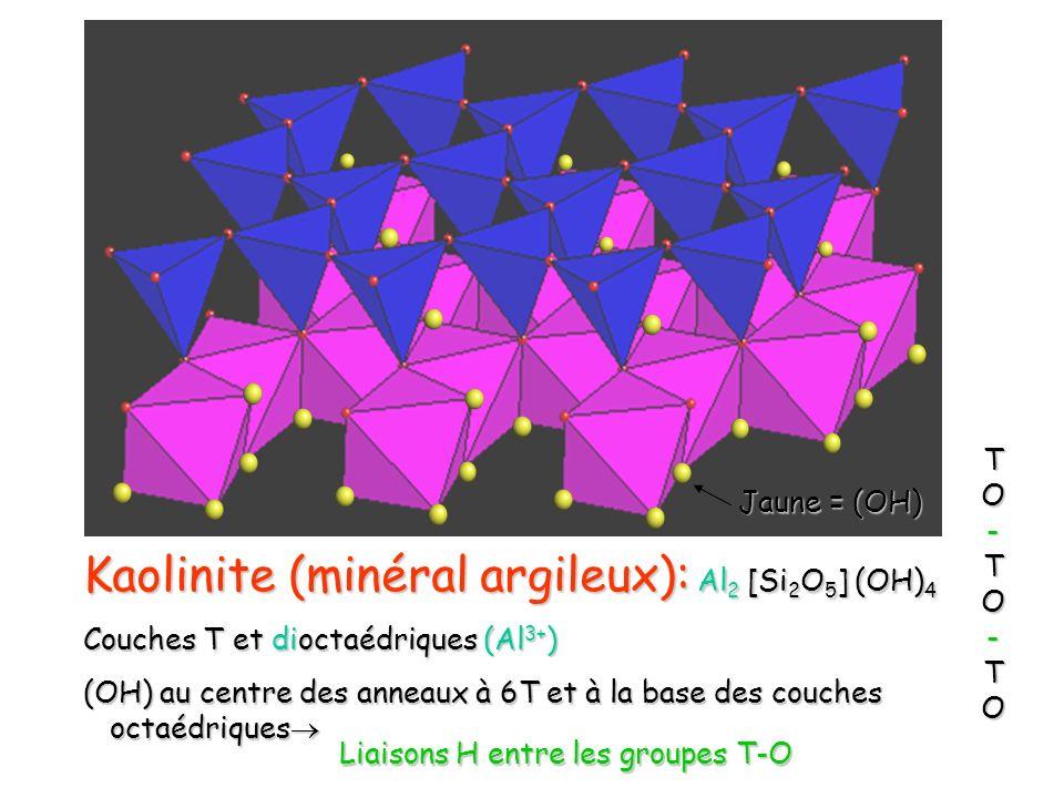 Kaolinite (minéral argileux): Al2 [Si2O5] (OH)4